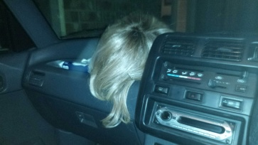 raquel on the dash